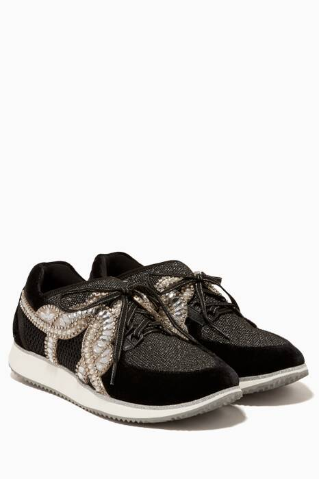 Black Royalty Crystal-Embellished Sneakers