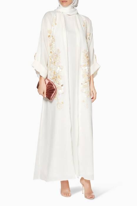 Off-white Embellished Kaftan With Sheila
