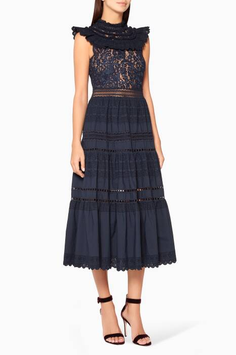 Navy Blue Lace & Fringe Tiered Maxi Dress
