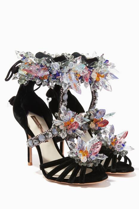 Black Crystal & Velvet Glacia Sandals