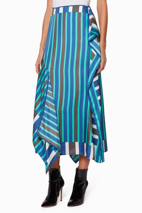 Royal-Blue Saxon Striped Bias Skirt
