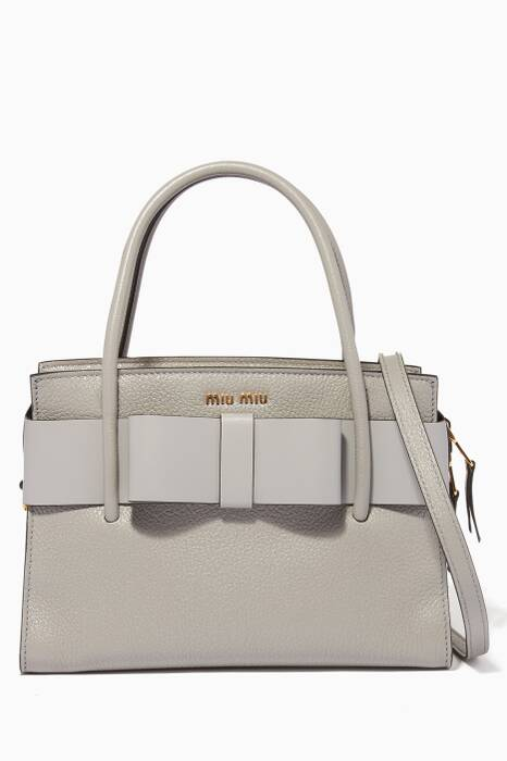 Light-Grey Medium Madras Leather Tote Bag