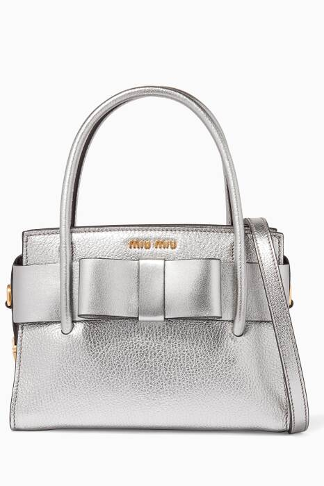 Silver Small Madras Bow-Embellished Tote