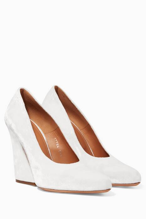 White Velvet Pumps