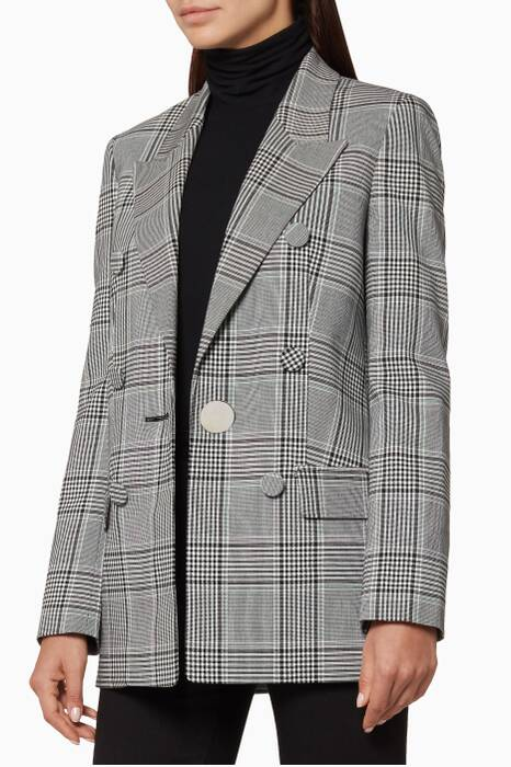 Checkered Tailored & Leather-Sleeve Jacket