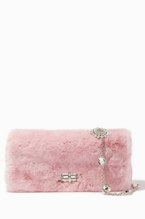 Pastel-Pink Fur Crystal Shoulder Bag