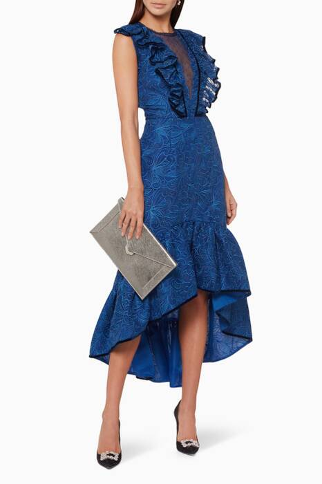 Blue Embroidered Ruffled Dress