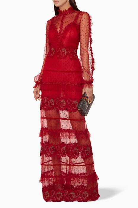 Red Lace Mesh Dress