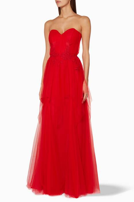 Red Sweetheart Layered Tulle Gown