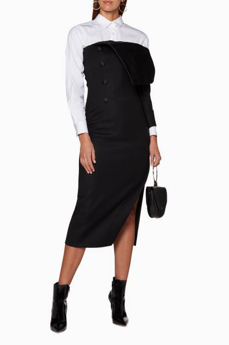 Black Fold-Over Duchess Midi Dress