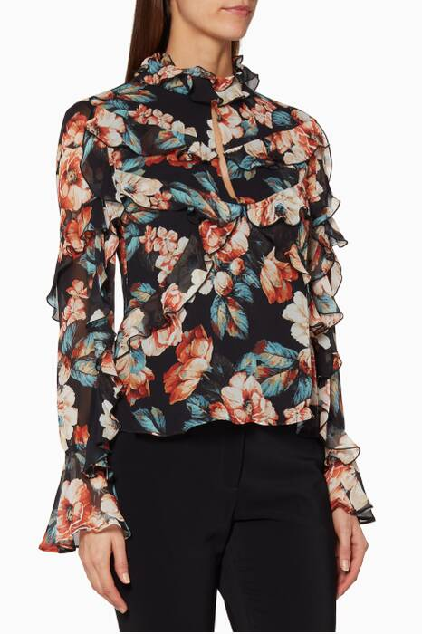 Black Floral Printed Lola Top