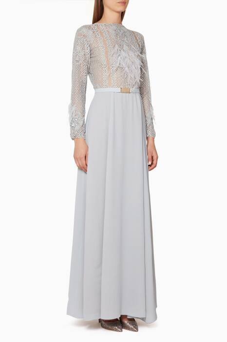 Light-Grey Feather-Embellished Isabella Gown