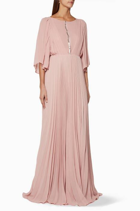 Pastel-Pink Pleated Dress