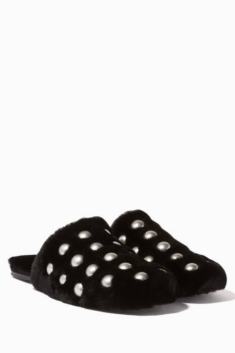 Black Studded Fur Amelia Slides