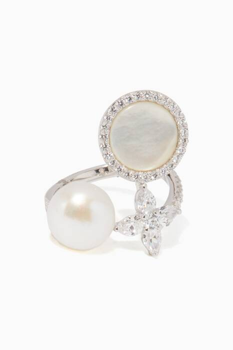 Silver Ring With Pearl & Mother of Pearl