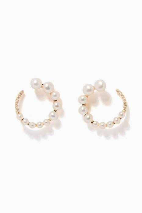 Yellow-Gold & White Pearl Earrings