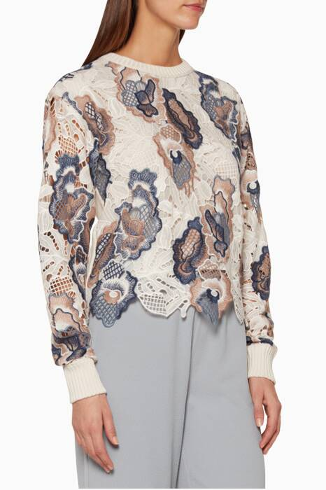 Ivory & Blue Floral Lace Sweater