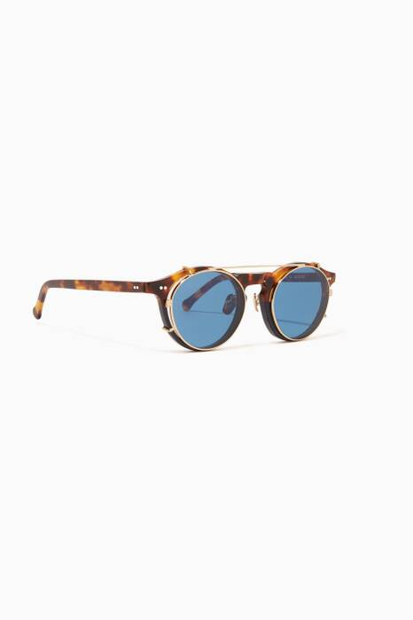 Tortoise & Navy Clip-On Captain Sunglasses