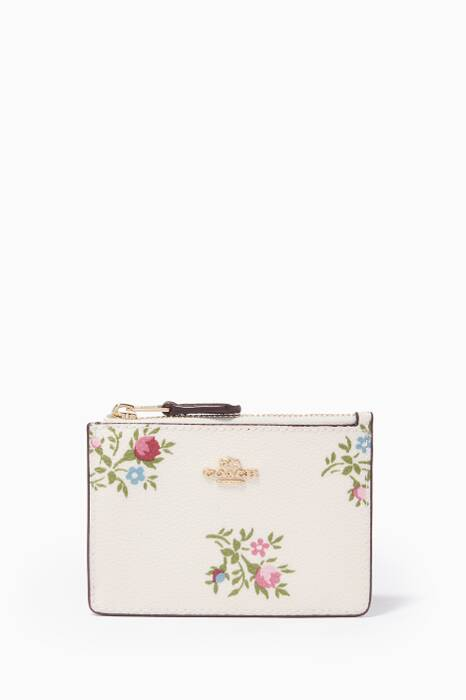 White Floral-Print Mini Skinny ID Case