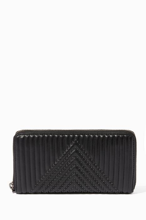Black Quilted Accordion Zip Wallet
