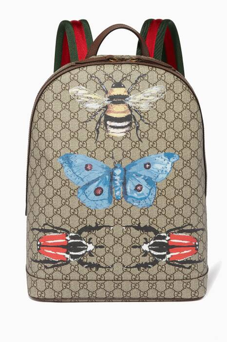 Beige GG Supreme Animal-Print Unisex Backpack