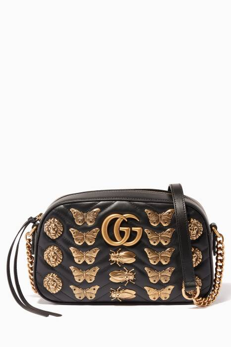 Black GG Marmont 2.0 Animal Studs Shoulder Bag