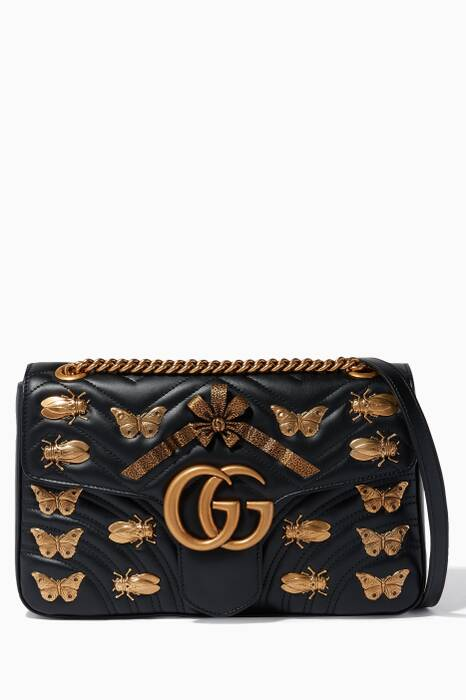 Black GG Marmont Animal Studs Shouder Bag