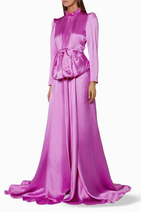 Candy-Mousse Bow-Detail Silk Gown