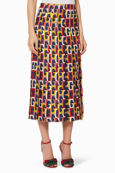 Ivory, Yellow & Red Printed Skirt