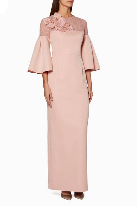 Light Pink Box-Pleat Sleeve Gown