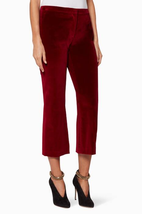 Burgundy Nettle Velvet Cropped Pants