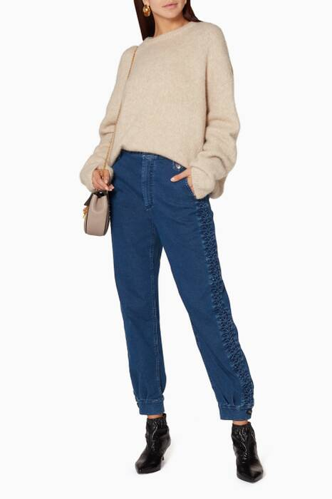 Blue Herringbone Detail Gaucho Pants
