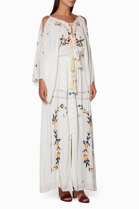 9ac4c32af3bee Shop Luxury Fillyboo Ivory Cleo Duster Maxi Dress | Ounass Oman