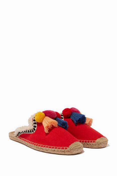 Red Pompom Espadrille Mules