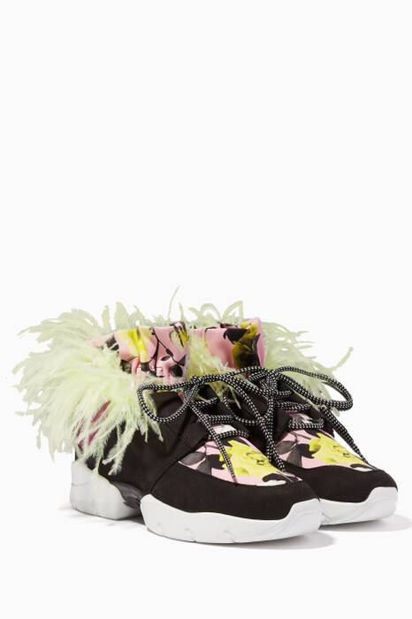 Multi-coloured Ruffled Leather Printed Sneakers