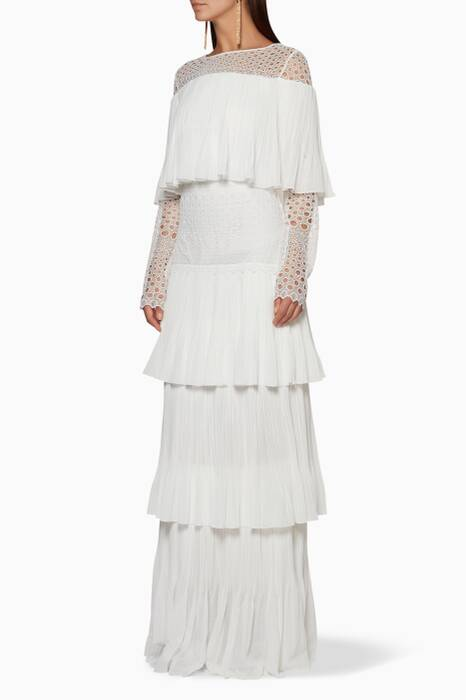 White Lace & Embroidered Tiered Gown