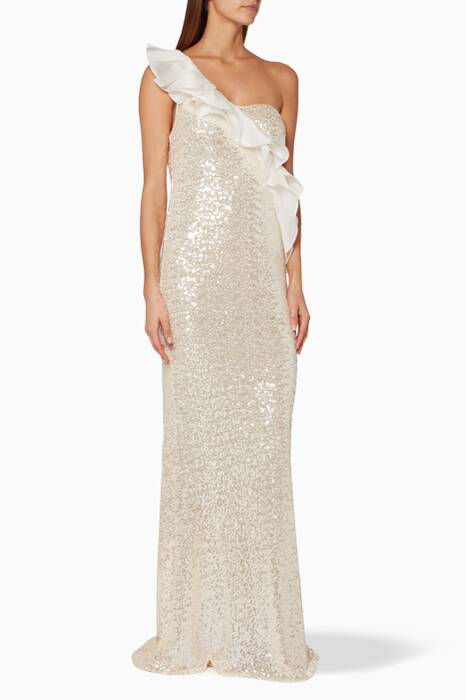Beige Sequin Embellished Ruffled Gown