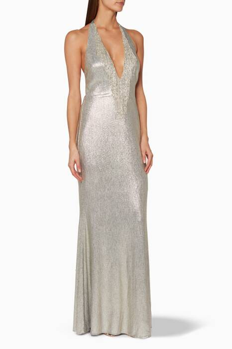 Silver & Gold Halter-Neck Gown