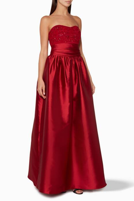 Red Embellished Strapless Mikado Gown