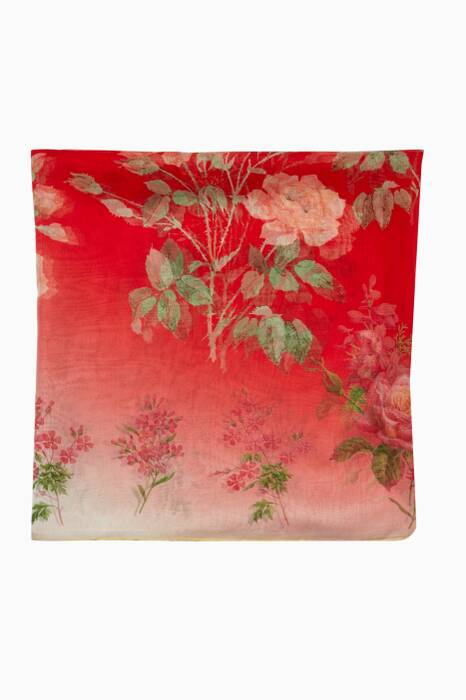 Ivory & Red Botanical Garden Printed Scarf