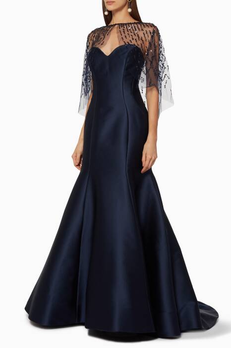Navy Strapless Gown With Embroidered Cape