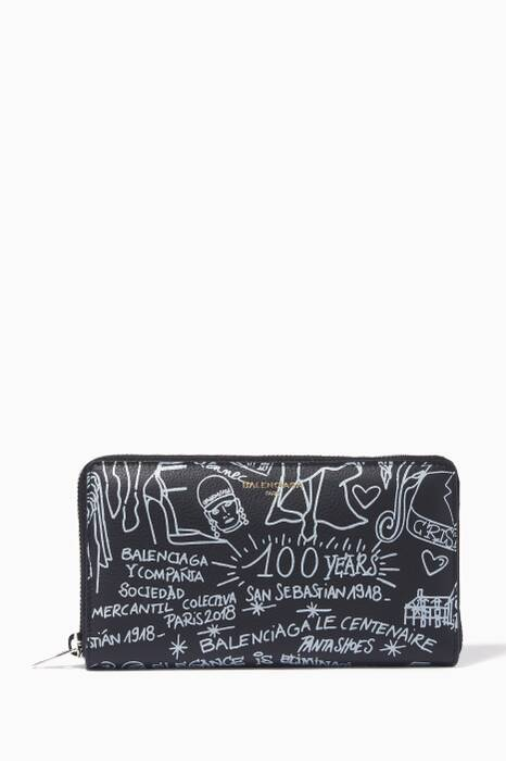 Black Graffiti Continental Zip Around Wallet