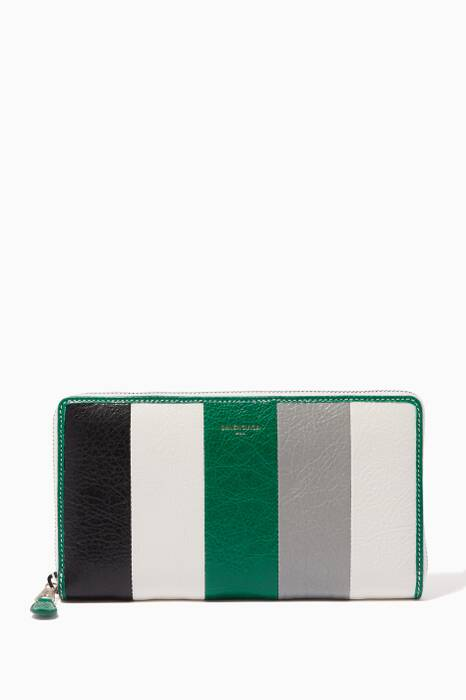 Multi-Colour Striped Bazar Zip-Around Wallet
