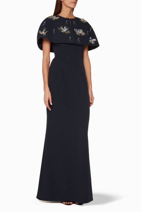 Midnight-Blue Jagna Embellished Cape Gown