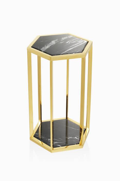 Black Marble Gold Finish Taro Side Table Set Of 2