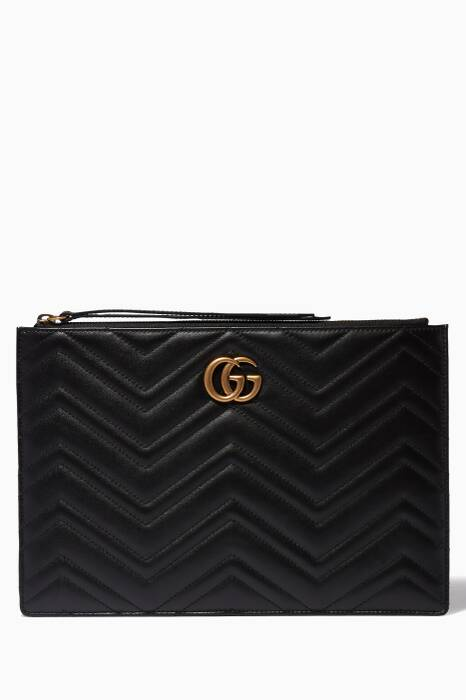 Black GG Marmont Quilted Pouch
