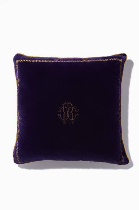 Viola-Purple Velvet & Silk Large Venezia 1967 Cushion