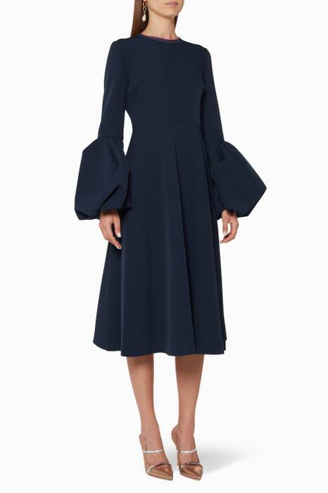Navy Crepe Aylin Midi Dress