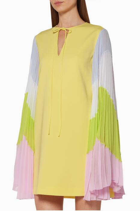 Yellow Pleated Sleeve Dress