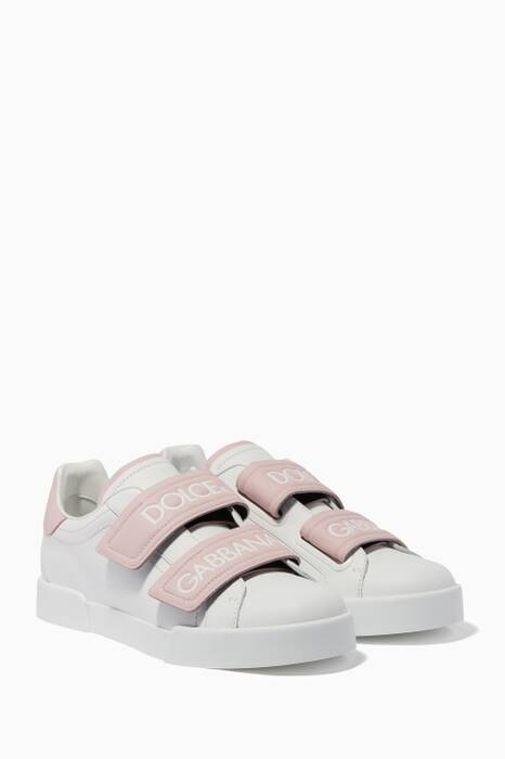 Light-Pink Portofino Velcro Logo Sneakers